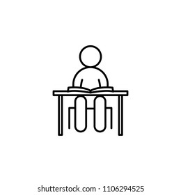 a schoolboy at a desk outline icon. Element of simple education icon for mobile concept and web apps. Thin line a schoolboy at a desk outline icon can be used for web and mobile on white background