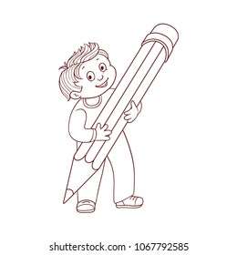 Schoolboy holding big pencil in his hands isolated on white background - hand drawn cartoon character of smiling little boy with extralarge pencil for back to school concept. Vector illustration.