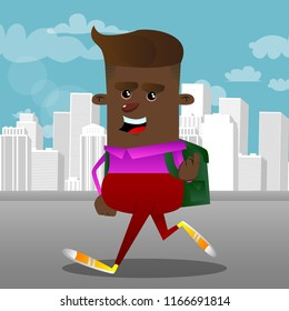 Schoolboy inviting to come there. Vector cartoon character illustration.