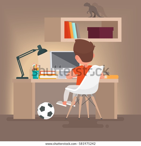Schoolboy learns lessons at home. Boy reading while sitting at your desk. Vector illustration in a flat style