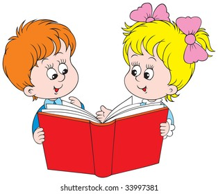 Schoolboy and schoolgirl with a book