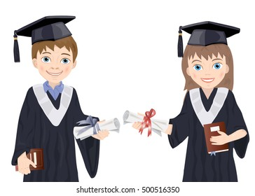 Schoolboy and schoolgirl in Graduate Costumes