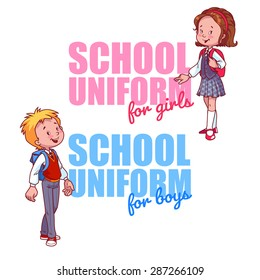 Schoolboy and Schoolgirl Uniform Logo. Vector Illustration on a White Background. Two Very Cute School Kids.