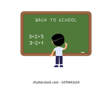 Schoolboy standing at blackboard flat vector illustration. Elementary school pupil solving mathematical exercise near chalkboard cartoon character. Addition and subtraction task on math lesson