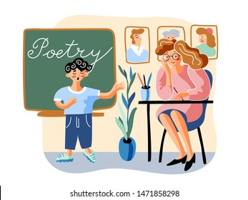 Schoolboy tells poem flat vector illustration. Little boy and young teacher in classroom cartoon characters. Elementary grade, school education. Poetry, literature subject. Student and female tutor