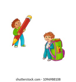 Schoolboys with extralarge school supplies - hand drawn cartoon characters of smiling little boys with big backpack and pencil isolated on white background. Vector illustration.