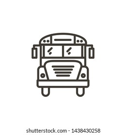 Schoolbus outline icon. Vector thin line illustration of a school bus or public transport
