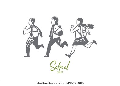 Schoolchildren concept sketch. Happy children running off to study. Kids having fun, hurry up home. Carrying backpacks to lessons. Playing catch in school backyard. Isolated vector illustration