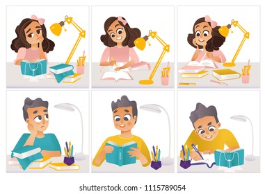 Schoolchildren doing homework set of little student girls and boys sitting at table, reading and writing with happy and upset face emotions isolated on white background. Cartoon vector illustration.