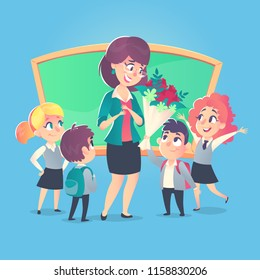 Schoolchildren give flowers to the happy teacher on the background of the school green board in classroom. Teacher's Day. Back to school.