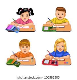 schoolchildren, sitting at their desks