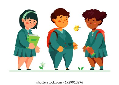 Schoolchildren standing together - colorful flat design style illustration with cartoon characters. Education and learning idea. Happy kids, boy and girls, friends wearing school uniform talking