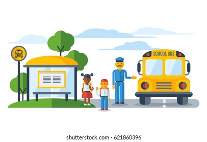 Schoolers getting on yellow schoolbus at bus stop. Back To School education concept. Vector Illustration.