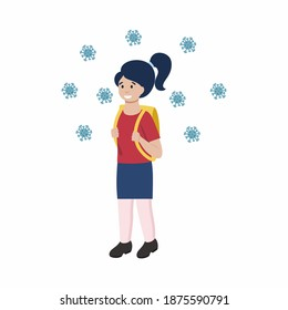 A schoolgirl girl in a medical mask. Precautionary measures against the coronavirus. Vector character in flat style.