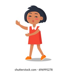 Schoolgirl in red dress with collar isolated on white background. Cartoon female character, first year pupil vector illustration in flat style