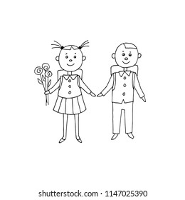 Schoolgirl and schoolboy with backpack and flowers. Hand drawn vector illustration.