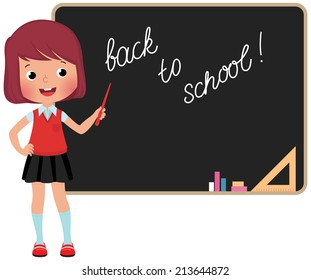 Schoolgirl standing at the blackboard in full growth/Schoolchild standing at the blackboard/Girl in school uniform standing at the blackboard