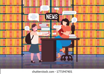 schoolgirl and teacher discussing daily news chat bubble communication concept modern library interior full length horizontal vector illustration