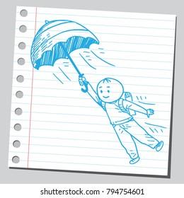 Schoolkid flying with umbrella