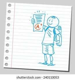 Schoolkid holding school exam test