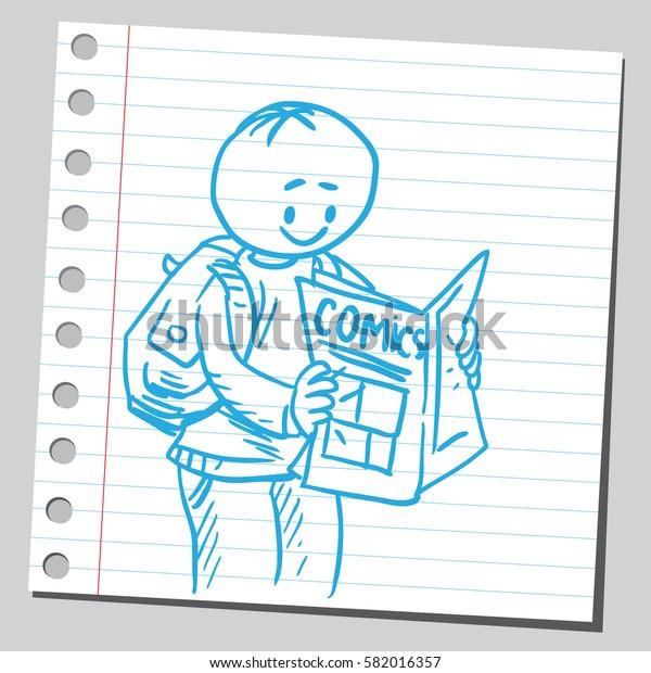 Schoolkid reading comics magazine