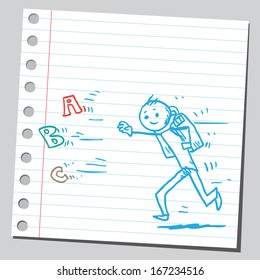 Schoolkid running for letters