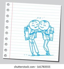 Schoolkids hugging