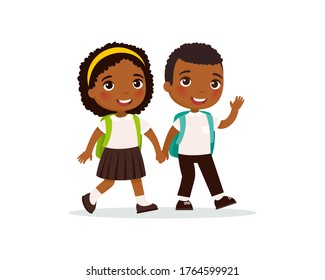 Schoolmates going to school flat vector illustration. Dark skin couple pupils in uniform holding hands isolated cartoon characters. Happy elementary school students with backpack back to school