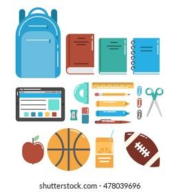 Schools stuff for pupils' education vector icons set.