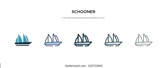 schooner icon in different style vector illustration. two colored and black schooner vector icons designed in filled, outline, line and stroke style can be used for web, mobile, ui