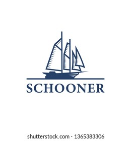 Schooner ship logo. Vintage ship logo. Silhouette of Schooner logo design. Traditional Sailboat