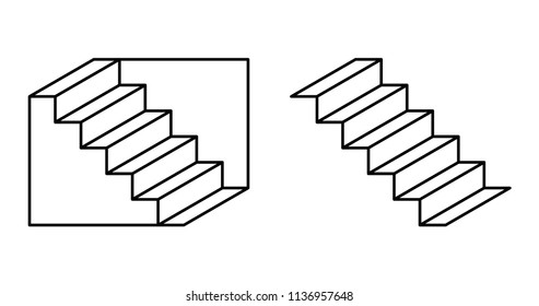 Schroeder stairs optical illusion. Drawing which may perceived as downwards leading staircase, from left to right. Or the same staircase, turned upside down. Perspective reversal. Illustration. Vector