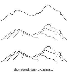 Schwyz Mythen. The Grosser Mythen, Grosse Mythe, a mountain, Schwyzer Alps, Central Switzerland. Vector black and white line illustration. Contour line. Print design. Illustration, simple style