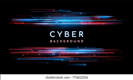 Sci fi digital futuristic background. Vector technology illustration. Neon light sign with with neon lines, geometric figures. Glitch neon frame. Futuristic label design. Luminous cyber hologram.
