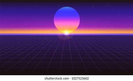 Sci fi futuristic abstract background. Violet retro gradient, vintage style of the 80s. Virtual surface with neon grids, digital cyber world. Vector illustration for your design of layout, poster