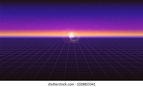 Sci fi futuristic horizontal abstract background. Violet retro gradient, vintage style of the 80s. Virtual surface with neon grids, digital cyber world. Vector illustration for your design of layout