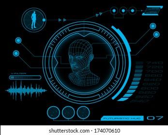 Sci fi futuristic user interface HUD. Vector illustration.
