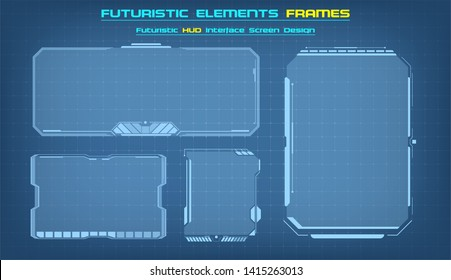 Sci Fi HUD modern futuristic user interface square Frames blocks Set.  Technology background with HUD dashboard interface. Vector illustration.