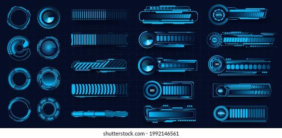 Sci Fi, HUD progress loading bars collection. Digital download progress or status bars of the digital interface head-up display, neon indicators of the download process. Vector illustration