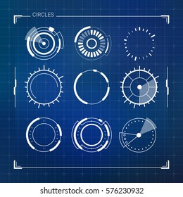 Sci Fi Modern Futuristic User Interface Circles Set. Abstract HUD