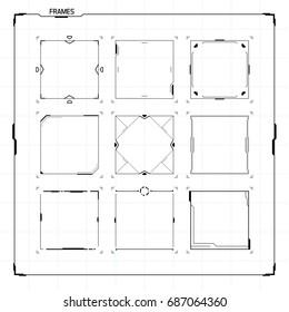 Sci Fi Modern Futuristic User Interface Square Frame Blocks Set. Abstract HUD