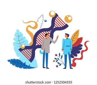 Science activity and researches made by clever people vector dna structure coded genome floral deco and leaves decoration scientific field development and microbiology technics biochemists in uniform.