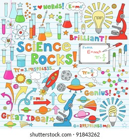 Science Back to School Notebook Doodles Vector Illustration Design Elements Chemestry Physics Icon Set with microscope, molecules, atoms, beakers, light bulb, rocket, and more
