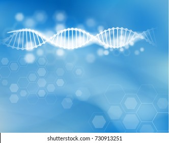 Science background with DNA strand technology background. Vector EPS10.