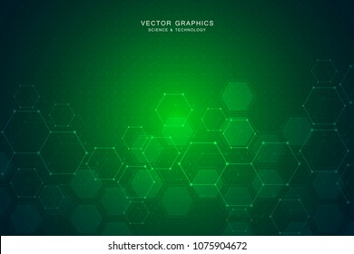 Science background with hexagons design. Geometric abstract background with molecular structure. Medical, science and technology concepts, vector illustration