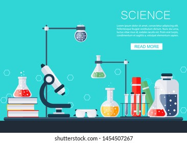 Science banner. Chemical lab vector illustration. Chemistry icons