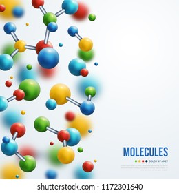 Science banner with colorful 3d molecules on white background. Vector illustration.