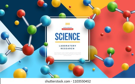 Science banner with square frame and colorful 3d molecules on modern geometric background. Vector illustration.