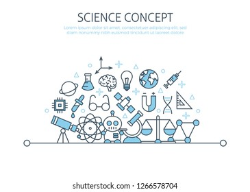 Science banner template. Technology round concept template. Thin line web symbols outline icons flat for mobile app, poster, banner, engineering elements, mathematics education, chemistry research