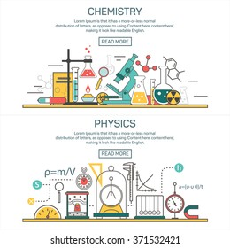Science banner vector concepts in line style. Chemistry and Physics design elements, symbols and icons. Laboratory workspace and science equipment. Education background